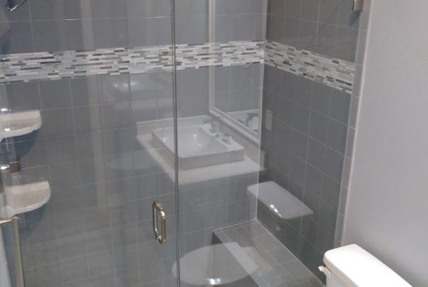 Glass enclosed tiled shower