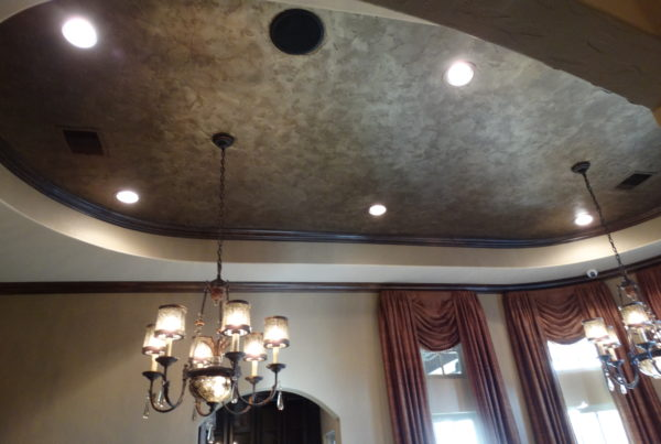 Hammered metal feature ceiling